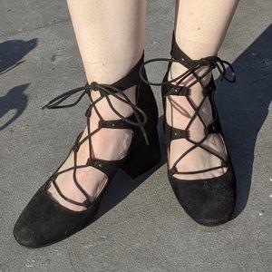 Lace Up Black Heels Shoes H&M US 7